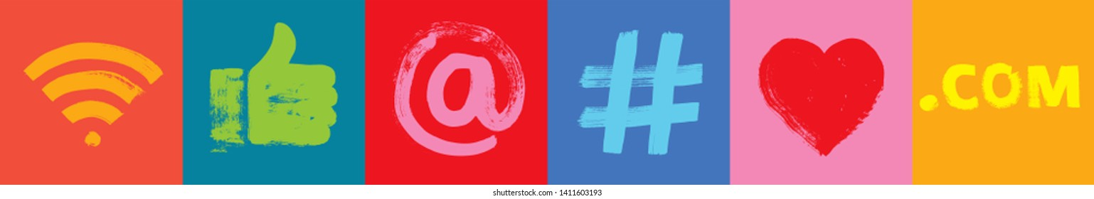 Six Social Media Symbols, Wide Format, Grunge Texture, Marketing, apps, at symbol, facebook, google analytics, hand like, hash tag, hashtag marketing,  Millennials, Smartphone technology, online, Apps