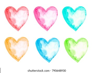 Six watercolor hearts in different colors: red, pink, turquoise, orange, blue, green isolated on the white background.