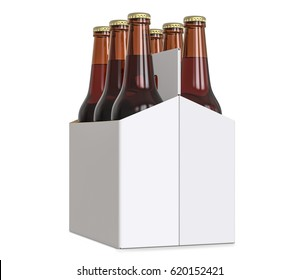 Six-pack cardboard carrier bottles of beer. 3D render, isolated on white background.