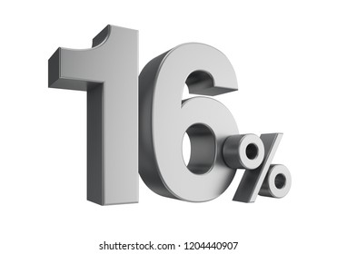 Sixteen percent or 16 % isolated on white background. 3d rendering.
