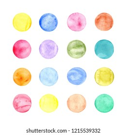Sixteen water colored circles of different colors on the white background.