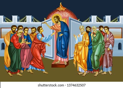 The sixth of ten appearances from the Resurrection to the Ascension of Christ. Thomas's assurance. Doubting Thomas. Illustration- fresco in Byzantine style.