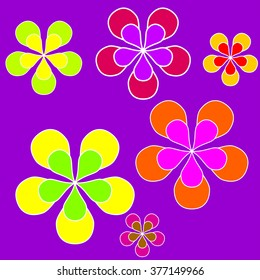 Sixties style background illustration with coloured flowers