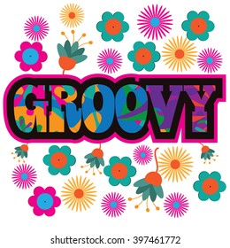 Sixties style mod pop art psychedelic colorful Groovy text design.