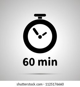 Sixty minutes timer simple black icon with shadow