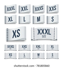 Size clothing fabric ribbon labels. Garment tags set. Sign size tag for product fabric illustration