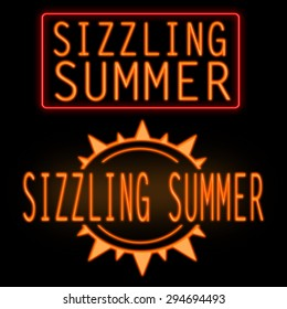 Sizzling summer glowing neon sign on black background