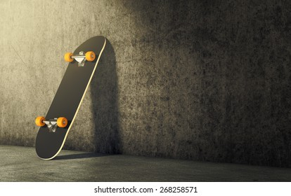 a skateboard leaning against wall, empty space at the right for custom text (3d render)