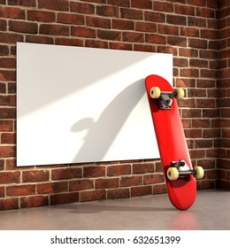 Skateboard on room with a white frame on wall 3d illustration