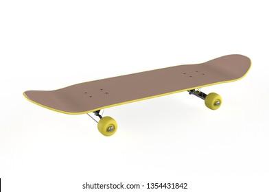Skateboard on a white background. 3d illustration