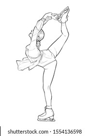 a skater girl performs on the ice rink.  illustration. to color