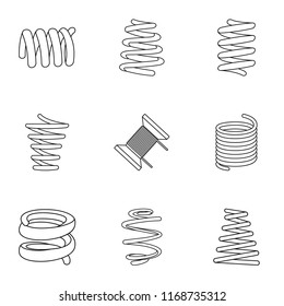 Skein icons set. Isometric set of 9 skein icons for web isolated on white background