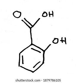 Skeletal formula of salicylic acid (handwritten)