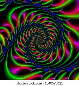 Skeletal Spiral in Blue Green and Pink / An abstract fractal work with a skeletal spiral design in blue, green and pink.