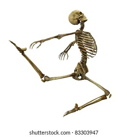 Skeleton ballet jump side view