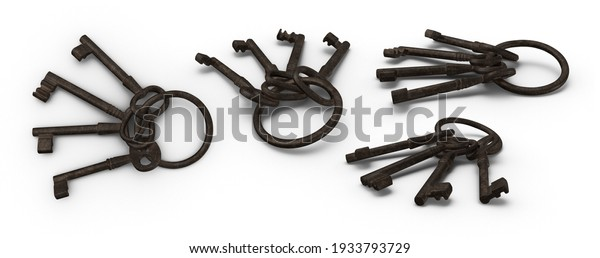 Skeleton black key is piece of metal that fits inside lock and turns to open it with keychain. Isolated white background 3d illustration different angle view realistic set