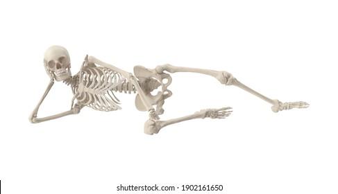 Skeleton Burt Reynolds 3D illustration on white background