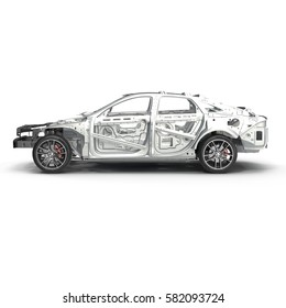 Skeleton of a car with Chassis on white. Side view. 3D illustration