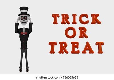Skeleton Character Happy Halloween Trick or Treat 3D Illustration