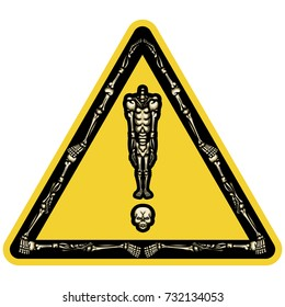 Skeleton exclamation mark  Illustration exclamation mark consist of headless skeleton standing on his skull in triangle form like road sign or sticker