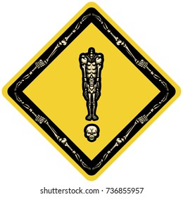 Skeleton exclamation mark in rhombus. Illustration exclamation mark consist of headless skeleton standing on his skull in rhombus form like road sign or sticker