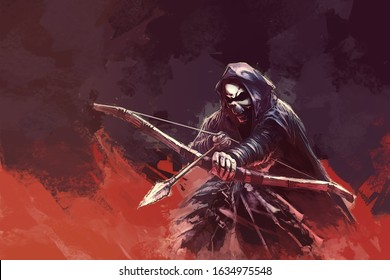 a skeleton (grim reaper) in a hood with a bow and an arrow - color painting