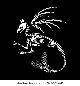 Skeleton of a gryphon with a tail of a mermaid on a black background. Mythical animal. Bestiary. Anatomy of fantastic beasts. Ideal for decoration of Halloween.