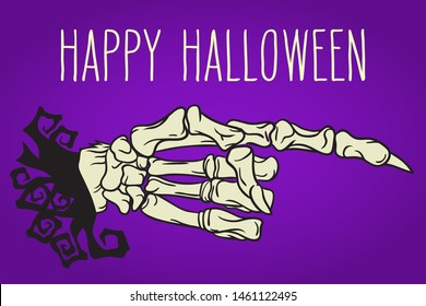 Skeleton hand with pointing finger hand drawn Halloween celebration greeting card. Holiday lettering illustration.