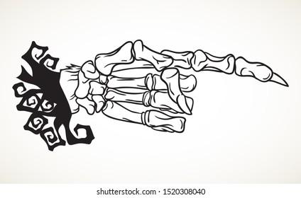Skeleton hand with pointing finger. Hand drawn Halloween celebration design element symbol. Illustration in black isolated over white.