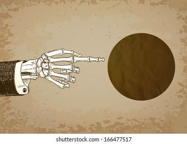 Skeleton Hand Pointing. Raster version.