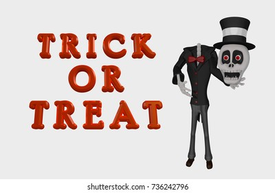 Skeleton holding his skull Triack or Treat Happy Halloween 3D Illustration