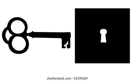 Skeleton Key and Keyhole Silhouette isolated on a white background.