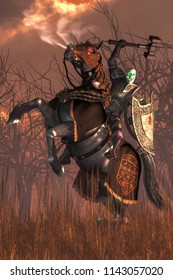 A skeleton knight rides a spectral black steed.  The death knight holds aloft it's mighty war hammer as its red eyed horse rears. The ghostly warrior looks at you with green glowing eyes. 3D Rendering