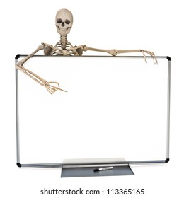 Skeleton leaning over a clean marker white board pointing to advertisement. Room for text or copy space. Halloween or medical concept on a white background.