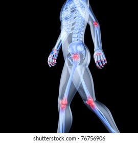 Skeleton of the man with the centres of pains of joints. 3D the image of a man's skeleton under a transparent skin