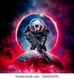 Skeleton military astronaut / 3D illustration of science fiction scene showing evil skull faced astronaut space soldier with laser pulse rifle rising above moon
