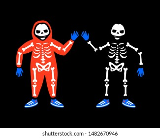 A skeleton in overalls, gloves and sneakers. A human skeleton in clothes. Illustration for Halloween. Isolated on black background. Happy Halloween!