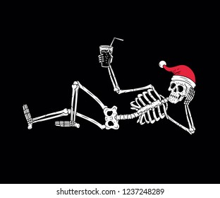 SKELETON WITH SANTA HAT AND COCKTAIL