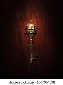 a skeleton shaped old golden key on a dark background. afterlife concept. 3d Rendering, illustration