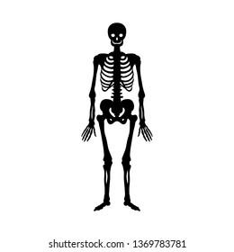 Skeleton silhouette ancient monster fantasy. JPG illustration.