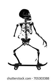 Skeleton Skating illustration print isolated on white background. Print design for t-shirt