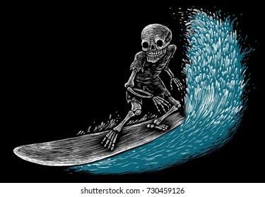 skeleton surfer and big wave. engraving style. illustration on black background