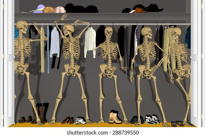 Skeletons in the Closet standing around talking with each other.