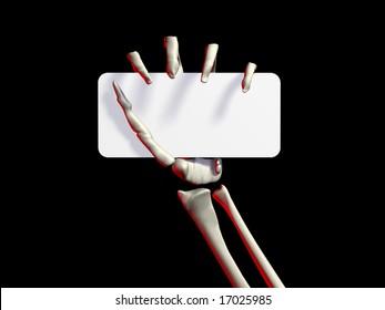skeletons hand holding a business card, blank sign, on black background
