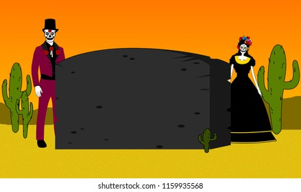 Skelton man and woman stand behind gravestone in the desert illustration design for day of the dearth festival or halloween.