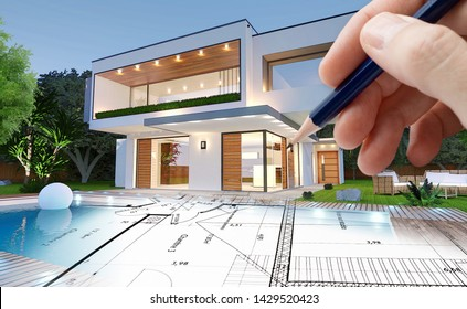 Sketch and 3D rendering of a modern house by an architect