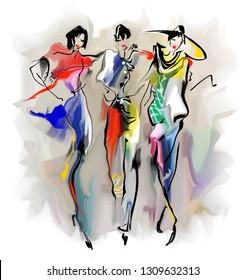 Esquisse abstraite. Des filles de la mode marchent dans la rue