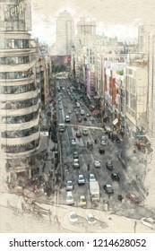 Sketch of an aerial view of Gran Via avenue in Madrid