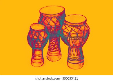 Sketch of African drums. Illustration