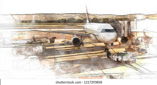 Sketch of an airplane at the airport at boarding time